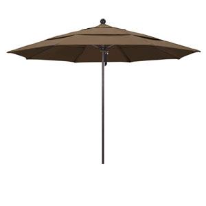 11 Foot Umbrella Fiberglass Market Pulley Open Double Vent Bronze/Sunbrella/Cocoa