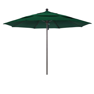 11 Foot Umbrella Fiberglass Market Pulley Open Double Vent Bronze/Sunbrella/Forestgreen