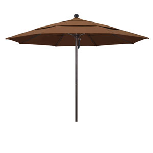 11 Foot Umbrella Fiberglass Market Pulley Open Double Vent Bronze/Sunbrella/Canvas Teak