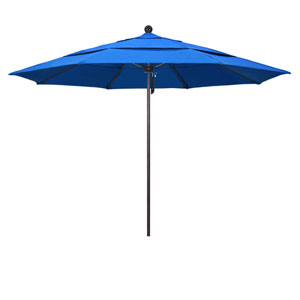11 Foot Umbrella Fiberglass Market Pulley Open Double Vent Bronze/Olefin/Pacific Blue