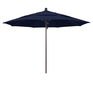 11 Foot Umbrella Fiberglass Market Pulley Open Double Vent Bronze/Olefin/Navy Blue