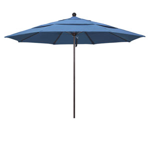 11 Foot Umbrella Fiberglass Market Pulley Open Double Vent Bronze/Olefin/Frost Blue