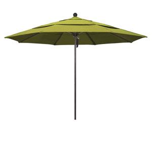 11 Foot Umbrella Fiberglass Market Pulley Open Double Vent Bronze/Olefin/Kiwi