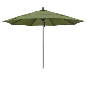 11 Foot Umbrella Fiberglass Market Pulley Open Double Vent Bronze/Olefin/Terrace Fern