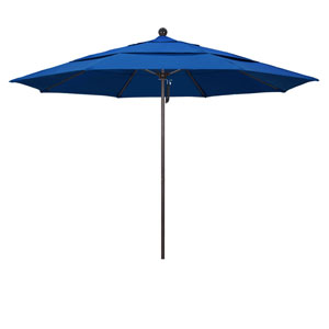 11 Foot Umbrella Fiberglass Market Pulley Open Double Vent Bronze/Pacifica/Pacific Blue