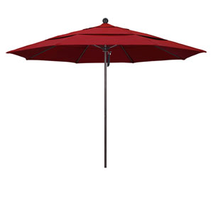 11 Foot Umbrella Fiberglass Market Pulley Open Double Vent Bronze/Pacifica/Red