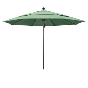 11 Foot Umbrella Fiberglass Market Pulley Open Double Vent Bronze/Pacifica/Spa