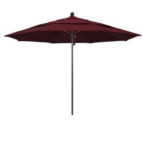 11 Foot Umbrella Fiberglass Market Pulley Open Double Vent Bronze/Pacifica/Burgandy