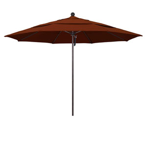 11 Foot Umbrella Fiberglass Market Pulley Open Double Vent Bronze/Pacifica/Brick