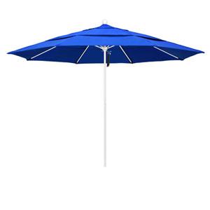 11 Foot Umbrella Fiberglass Market Pulley Open Double Vent Matte White/Sunbrella/Pacific Blue
