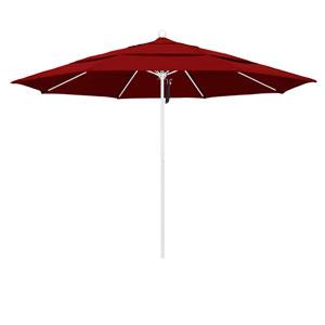 11 Foot Umbrella Fiberglass Market Pulley Open Double Vent Matte White/Sunbrella/Jockey Red