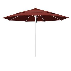 11 Foot Umbrella Fiberglass Market Pulley Open Double Vent Matte White/Sunbrella/Henna