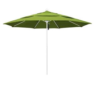 11 Foot Fiberglass Market Umbrella Pulley Open Double Vent White/Sunbrella/Macaw