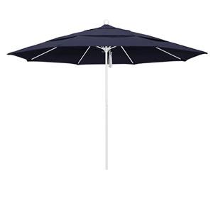 11 Foot Umbrella Fiberglass Market Pulley Open Double Vent Matte White/Sunbrella/Navy
