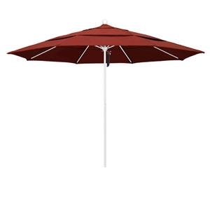 11 Foot Umbrella Fiberglass Market Pulley Open Double Vent Matte White/Sunbrella/Terracotta
