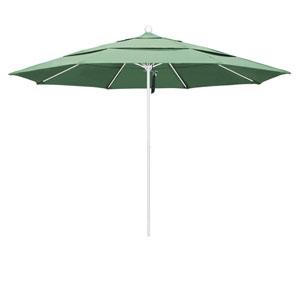 11 Foot Umbrella Fiberglass Market Pulley Open Double Vent Matte White/Pacifica/Spa
