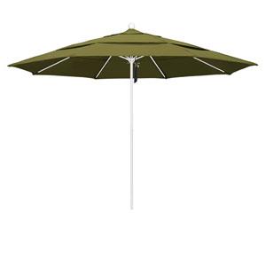 11 Foot Umbrella Fiberglass Market Pulley Open Double Vent Matte White/Pacifica/Palm