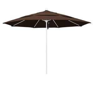 11 Foot Umbrella Fiberglass Market Pulley Open Double Vent Matte White/Pacifica/Mocha