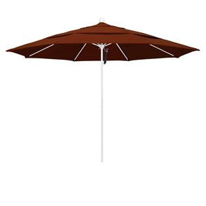 11 Foot Umbrella Fiberglass Market Pulley Open Double Vent Matte White/Pacifica/Brick