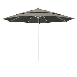 11 Foot Umbrella Fiberglass Market Pulley Open Double Vent Matte White/Pacifica/Taupe
