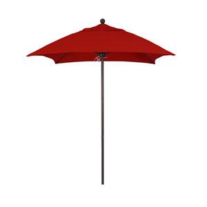 6 Foot Fiberglass Market Umbrella Pulley Open Double Vent Bronze/Sunbrella/Jockey Red