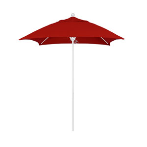 6 Foot Fiberglass Market Umbrella Pulley Open Double Vent Matte White/Sunbrella/Jockey Red