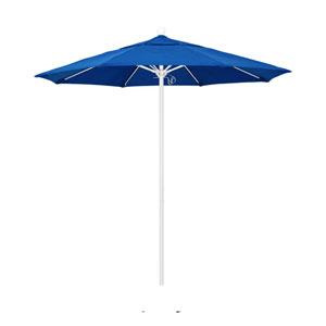 7.5 Foot Umbrella Fiberglass Market Pulley Open Matte White/Sunbrella/Pacific Blue