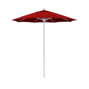 7.5 Foot Umbrella Fiberglass Market Pulley Open Matte White/Sunbrella/Jockey Red