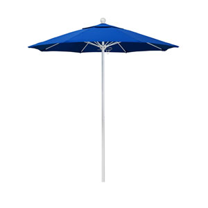 7.5 Foot Umbrella Fiberglass Market Pulley Open Matte White/Olefin/Pacific Blue