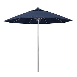 9 Foot Fiberglass Market Umbrella Pulley Open Silver Anodized/Sunbrella/Spectrum Indigo