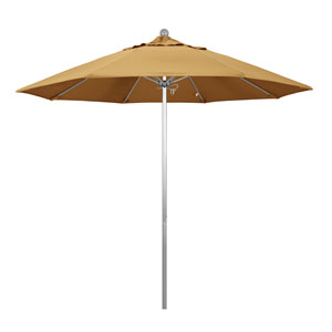 9 Foot Umbrella Fiberglass Market Pulley Open Anodized/Sunbrella/Wheat