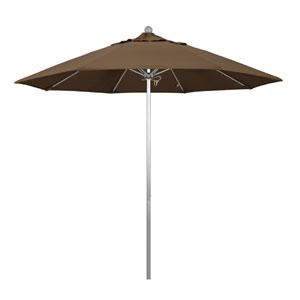 9 Foot Umbrella Fiberglass Market Pulley Open Anodized/Sunbrella/Cocoa