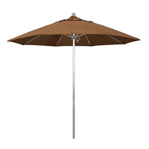 9 Foot Umbrella Fiberglass Market Pulley Open Anodized/Sunbrella/Canvas Teak