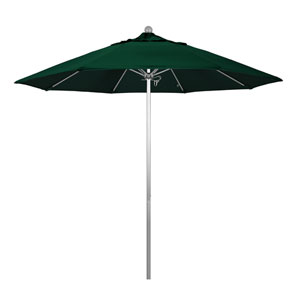 9 Foot Umbrella Fiberglass Market Pulley Open Anodized/Olefin/Hunter Green