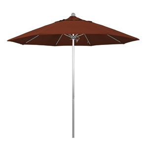 9 Foot Umbrella Fiberglass Market Pulley Open Anodized/Olefin/Terracotta