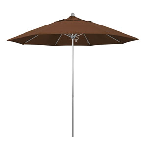 9 Foot Umbrella Fiberglass Market Pulley Open Anodized/Olefin/Teak