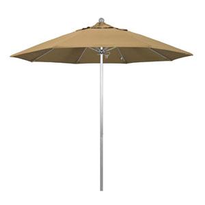 9 Foot Umbrella Fiberglass Market Pulley Open Anodized/Olefin/Straw