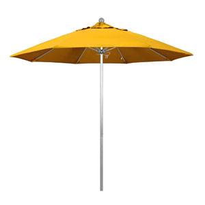 9 Foot Umbrella Fiberglass Market Pulley Open Anodized/Pacifica/Yellow
