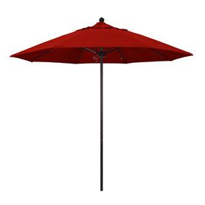 9 Foot Umbrella Fiberglass Market Pulley Open Bronze/Sunbrella/Jockey Red