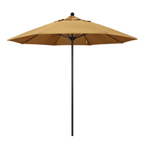 9 Foot Umbrella Fiberglass Market Pulley Open Bronze/Sunbrella/Wheat
