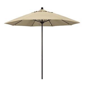 9 Foot Umbrella Fiberglass Market Pulley Open Bronze/Sunbrella/Antique Beige