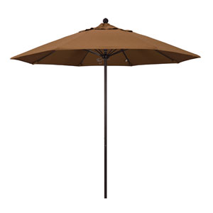 9 Foot Umbrella Fiberglass Market Pulley Open Bronze/Sunbrella/Canvas Teak