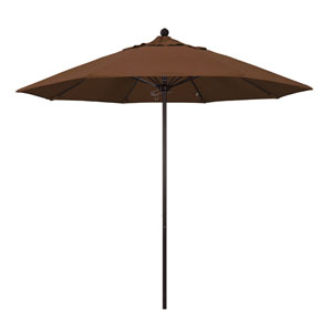 9 Foot Umbrella Fiberglass Market Pulley Open Bronze/Olefin/Teak