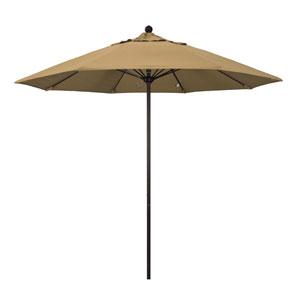 9 Foot Umbrella Fiberglass Market Pulley Open Bronze/Olefin/Straw