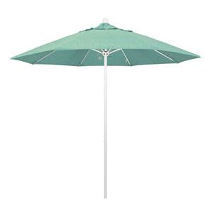 9 Foot Fiberglass Market Umbrella Pulley Open Matte White/Sunbrella/Spectrum Mist