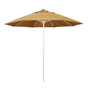 9 Foot Umbrella Fiberglass Market Pulley Open Matte White/Sunbrella/Wheat