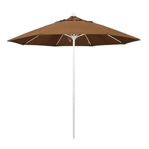9 Foot Umbrella Fiberglass Market Pulley Open Matte White/Sunbrella/Canvasteak