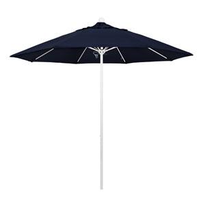 9 Foot Umbrella Fiberglass Market Pulley Open Matte White/Olefin/Navy Blue