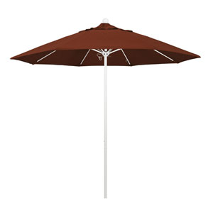9 Foot Umbrella Fiberglass Market Pulley Open Matte White/Olefin/Terracotta