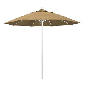 9 Foot Umbrella Fiberglass Market Pulley Open Matte White/Olefin/Straw
